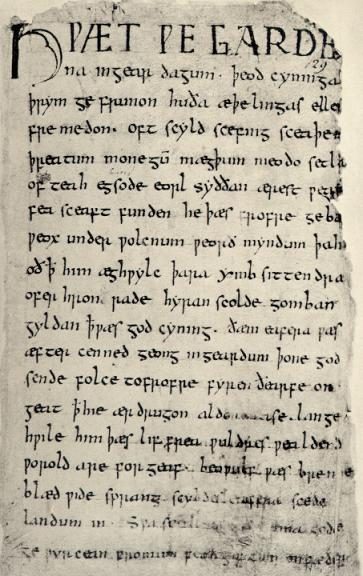 The Beowulf Manuscript via Wikimedia Commons